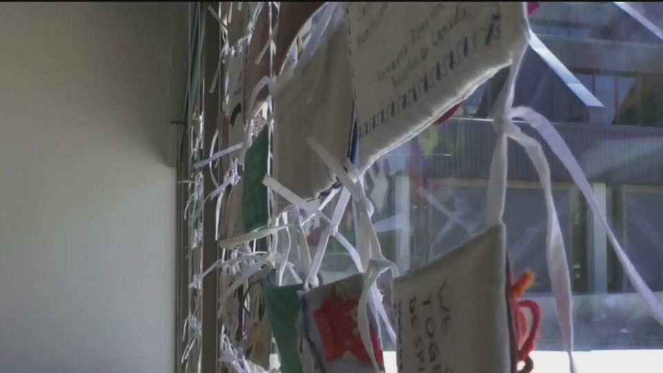 Community quilt project on display