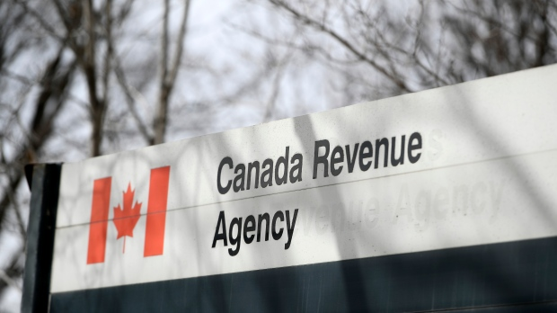 The Canada Revenue Agency sign outside the National Headquarters at the Connaught Building in Ottawa is seen on Monday, March 1, 2021. THE CANADIAN PRESS/Justin Tang