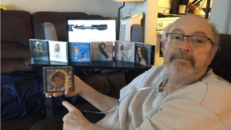 Michael Alessio, a big Shania Twain fan, was able to get a sneak preview of her new album and a personalized message from the singer. (courtesy Oneday Dreams)