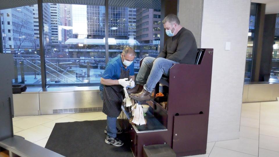 Calgary Plus-15 shoeshine Pat Dardano