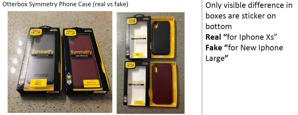 A comparison of fake and real products.