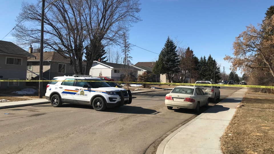 A man was found dead in the area of 38 Avenue and 45 Street in Red Deer on Tuesday, March 16, 2021. (Nav Sangha/CTV News Edmonton)