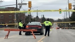 Police close Duckworth Street in Barrie, Ont. for a fatal pedestrian collision on Tues. March 16, 2021 (CTV News Barrie)