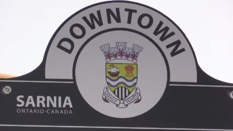 A Downtown Sarnia, Ont. sign is seen on Tuesday, March 16, 2021. (Brent Lale/CTV London)