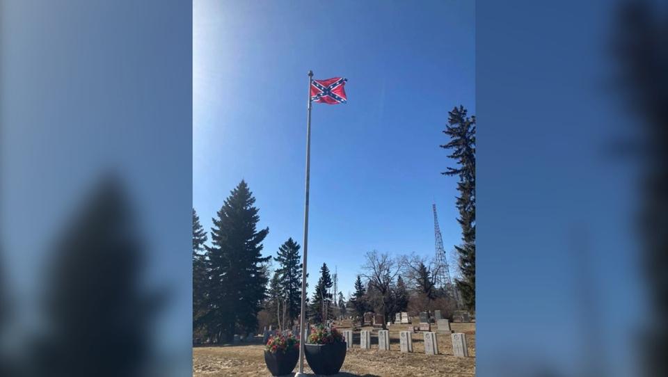Confederate flag, Calgary, reading, rock, cemetery