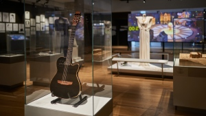 The ANU - Museum of the Jewish People in Tel Aviv is hosting one of Leonard Cohen's guitars, one he played during his last show in Israel in 2009. SOURCE: Shahar and Ziv Katz-Lucido/ANU-Museum of the Jewish People