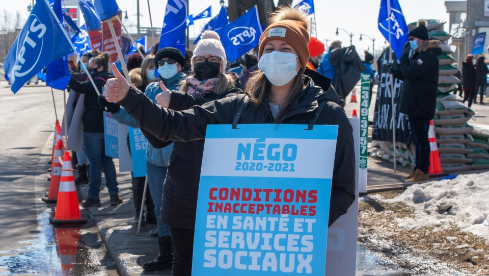 Quebec public sector workers protest