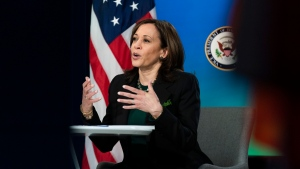 Vice President Kamala Harris attends a virtual event celebrating the Frederick Douglass Global Fellows at the Eisenhower Executive Office Building on the White House complex in Washington, Wednesday, March 17, 2021. (AP Photo/Manuel Balce Ceneta)