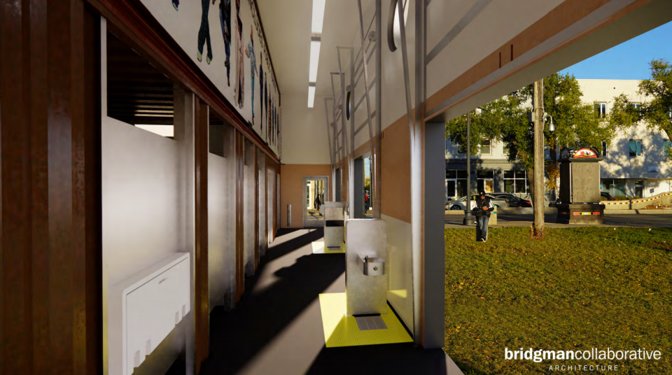 A design for a public washroom that will be built next to Thunderbird House. (Source: Wins Bridgman)