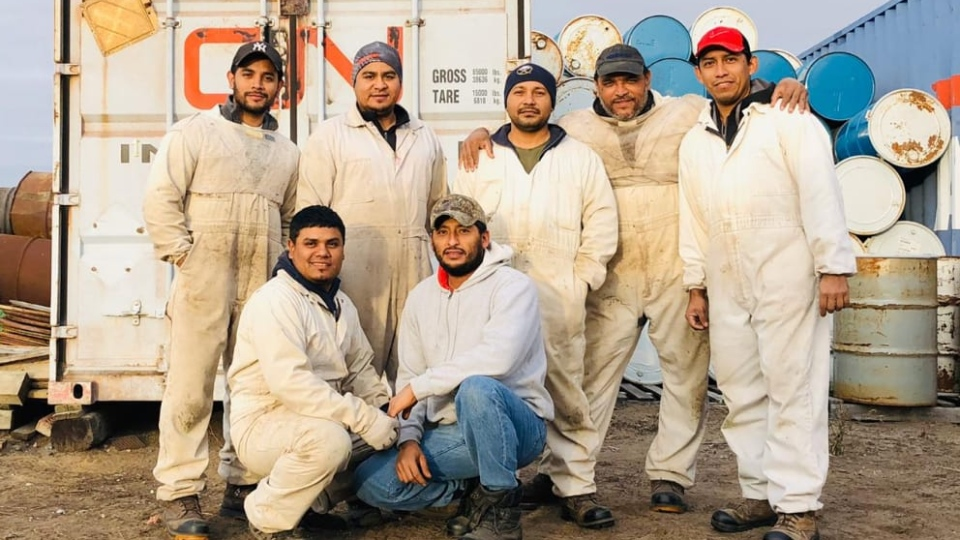 Workers at Hannigan Honey in Shellbrook. (Courtesy  Jhulio Vanegas)