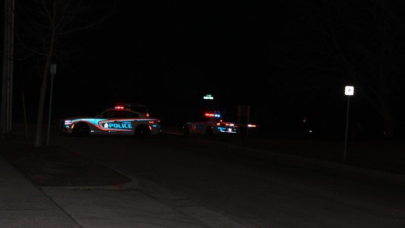 London police on scene on Berkshire Drive investigating shots fired on Wednesday, March 17, 2021. (Gerry Dewan / CTV London)
