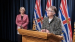 Dr. Penny Ballem, executive lead of B.C.'s COVID-19 vaccine rollout, speaks during a news conference on Thursday, March 18, 2021. (Province of B.C./Flickr)