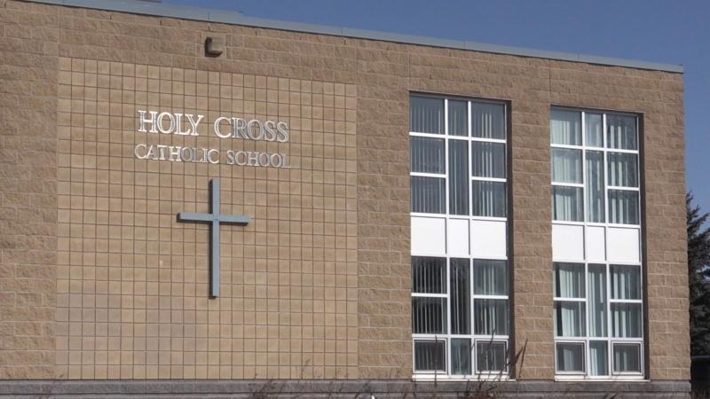 Holy Cross Catholic School in Innisfil, Ont. on Fri. March 19, 2021 (Siobhan Morris/CTV News)