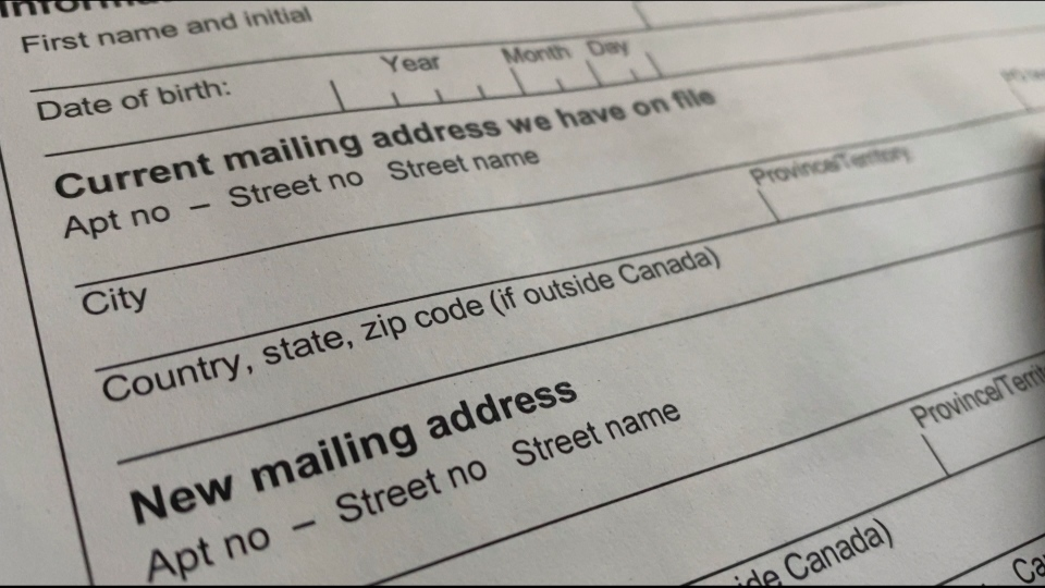 The paper form to change your address with the CRA