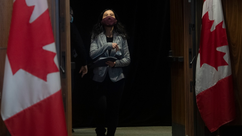 Chief Public Health Officer Theresa Tam arrives for a technical briefing on the COVID pandemic in Canada, Friday, January 15, 2021 in Ottawa. THE CANADIAN PRESS/Adrian Wyld