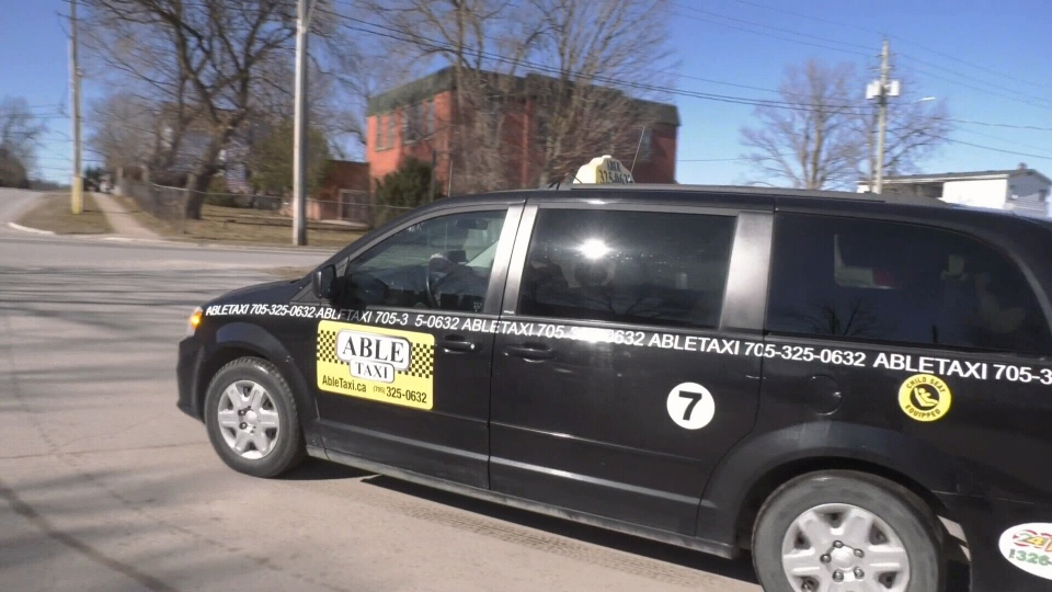 Able Taxi is offering free rides to seniors to and from COVID-19 vaccination clinics in Orillia, Ont. (Steve Mansbridge/CTV News)