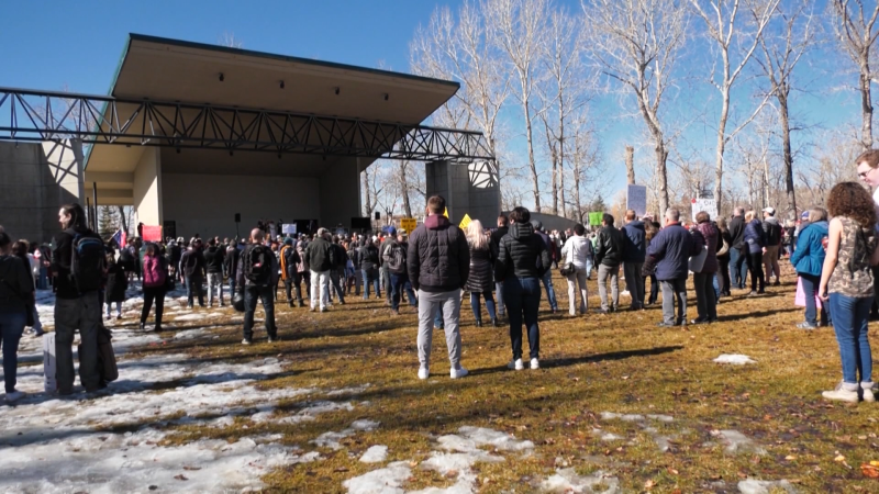 The Walk for Freedom rally in Prince's Island Park. Saturday March 20, 2021 (CTV News Calgary)