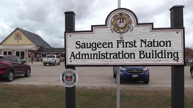 Saugeen First Nation Administration Building, seen on Sunday March 21, 2021 (Scott Miller/CTV News)