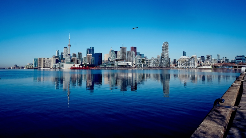 The Toronto skyline seen in March 2021. (CTV News / Craig Wadman)
