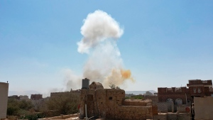 In this Mar. 7, 2021 file photo, smoke rises after Saudi-led airstrikes on an army base in Sanaa, Yemen. Saudi Arabia announced a plan Monday, March 22, 2021, to offer Yemen's Houthi rebels a cease-fire in the country's yearslong war and allow a major airport to reopen in its capital, the kingdom's latest attempt to halt fighting that has sparked the world's worst humanitarian crisis in the Arab world's poorest nation. (AP Photo/Hani Mohammed, File)