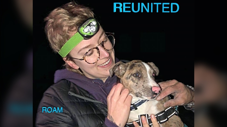 Ruth the puppy is pictured reunited with her owner, Bronte McMaster: (ROAM / Facebook)