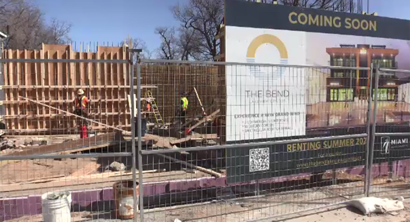 Construction is underway on 'The Bend' development on Main Street in Grand Bend, Ont. on Monday, March 22, 2021. (Brent Lale / CTV News)