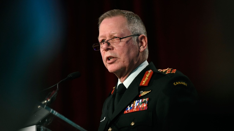 Chief of the Defence Staff Jonathan Vance delivers remarks at the Ottawa Conference on Security and Defence in Ottawa, on Wednesday, March 4, 2020. THE CANADIAN PRESS/Justin Tang