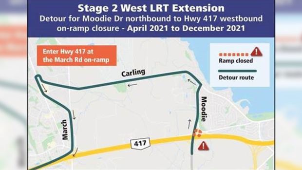 The City of Ottawa says the Moodie Drive on-ramp to Highway 417 westbound will be closed starting April 1 and will reopen in December to facilitate Stage 2 LRT construction. The posted detour will be in place. (Image via the City of Ottawa)