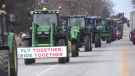Farmers rally in the Simcoe, Ont. area over new rules for temporary foreign workers in Haldimand-Norfolk on Tuesday, March 23, 2021. (Brent Lale / CTV News)