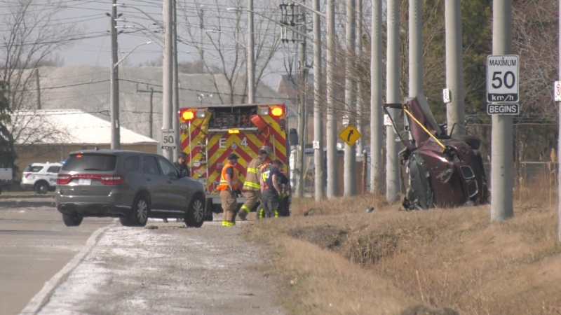 Emergency crews were called to the crash on Ojibway Parkway on Tuesday, March 23, 2021. (Angelo Aversa / CTV Windsor)