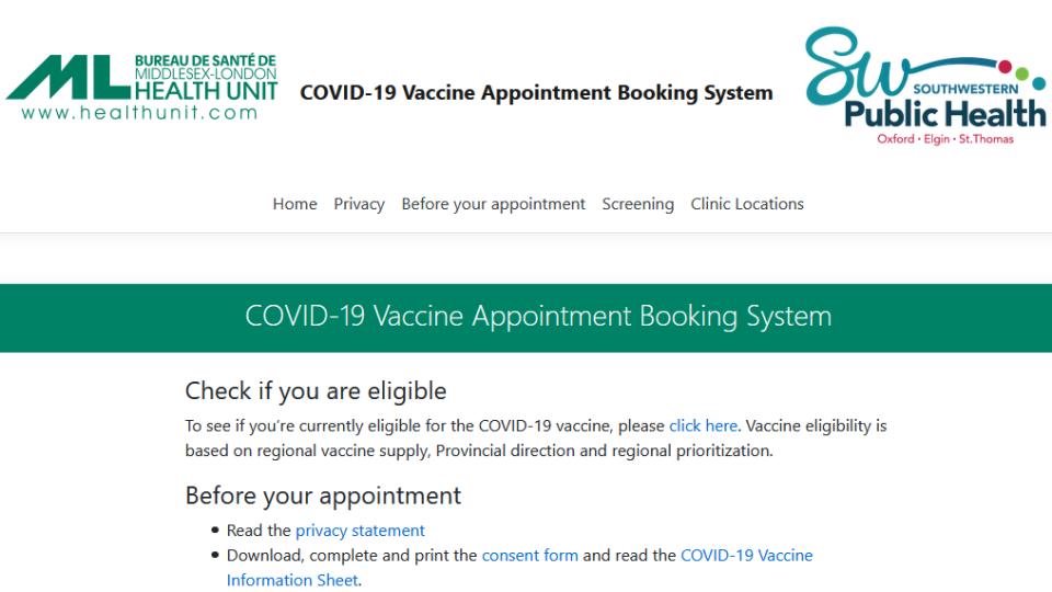 COVID-19 vaccine booking site