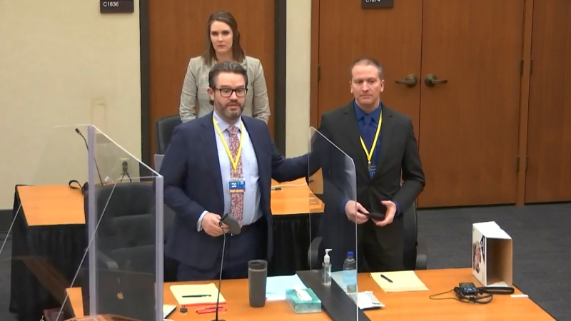 In this screen grab from video, defense attorney Eric Nelson, left, defendant and former Minneapolis police officer Derek Chauvin, right, and Nelson's assistant Amy Voss, back, introduce themselves to potential jurors as Hennepin County Judge Peter Cahill Tuesday, March 23, 2021, presides over jury selection in the trial of Chauvin at the Hennepin County Courthouse in Minneapolis, Minn. Chauvin is charged in the May 25, 2020 death of George Floyd. (Court TV, via AP, Pool