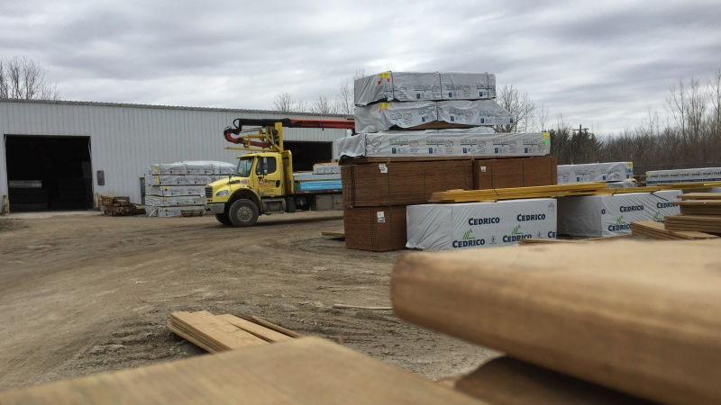 Lumber yard at a Home Hardware in London Ont. on March 24, 2021. (Bryan Bicknell/CTV London)