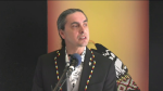 Grand Chief Arlen Dumas speaks at a news conference on March 24, 2021. (CTV News Photo Ken Gabel)