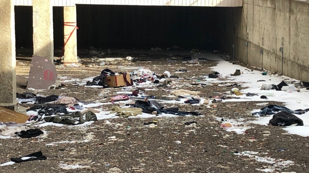 The Prairie Heights building is in disrepair in this April 14 photo, with many outstanding issues and garbage visibly littering hallways and stairwells. (Francois Biber/CTV Saskatoon)