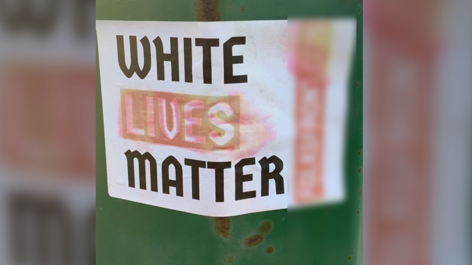 A White Lives Matter poster that was found in North Battleford. (Courtesy Ryan Bater/Battlefords Regional Community Coalition)