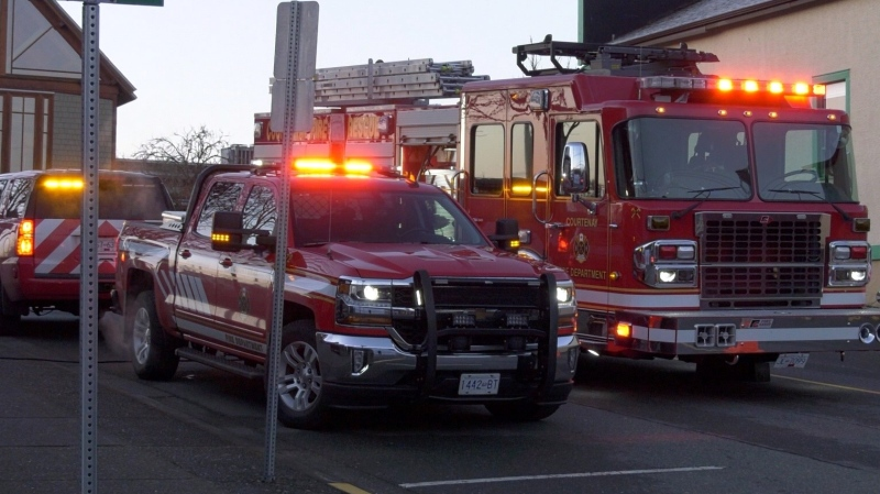 Fire trucks are seen outside the Comox Valley Art Gallery in March to douse a suspicious dumpster fire: (CTV News)