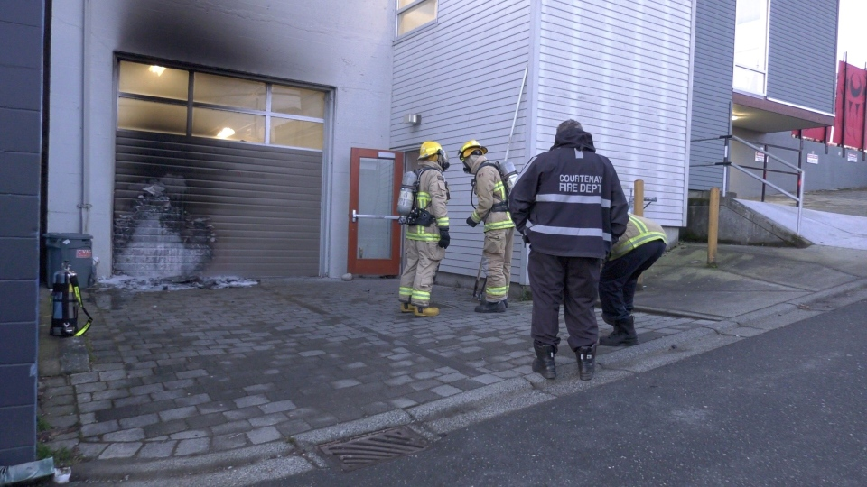 The fire was doused at the back of the Comox Valley Art Gallery early Thursday morning: (CTV News)