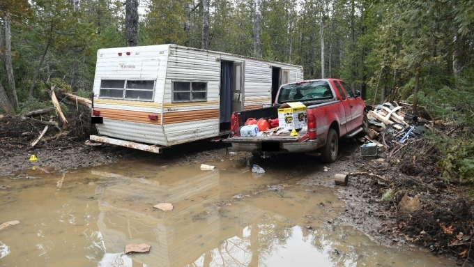 Trailer that Gary Brohman had set up in Gore Bay