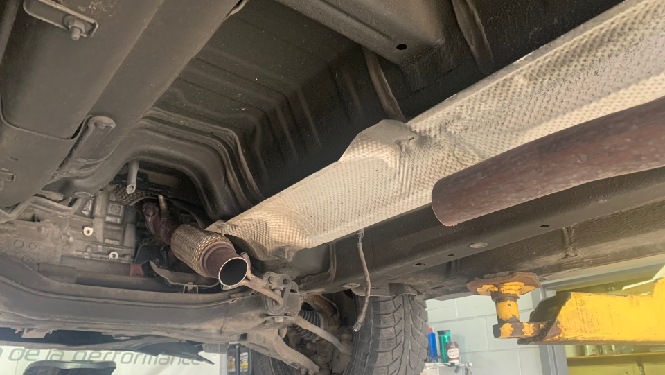 Robert Posman's catalytic converter removed