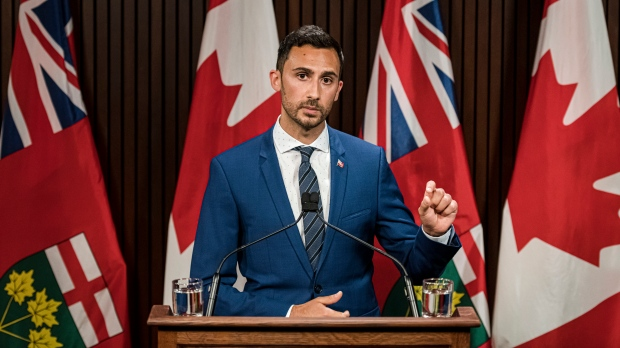 Ontario Minister of Education, Stephen Lecce makes an announcement at Queen's Park in Toronto, on Thurs., Aug, 13, 2020. THE CANADIAN PRESS/Christopher Katsarov