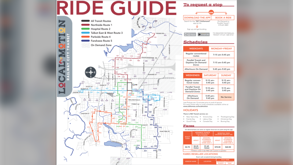 Ride Guide for new St. Thomas transit system. (courtesy City of St. Thomas)