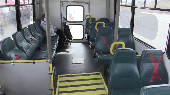 Inside a St. Thomas bus which will return to full density when the new system is launched in St. Thomas, Ont. on Sunday, Mar. 28, 2021. (Brent Lale/CTV London)
