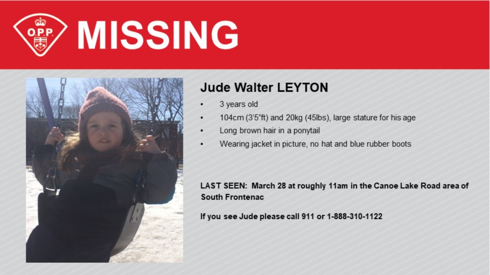 The OPP says Jude Walter Leyton was last seen on Sunday, March 28 in South Frontenac. (Photo courtesy: Ontario Provincial Police)