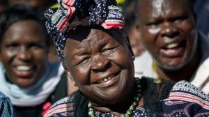 In this Wednesday, Nov. 7, 2012, file photo, Sarah Obama, step-grandmother of President Barack Obama, speaks to the media about her reaction to Obama's re-election, in the garden of her house in the village of Kogelo, western Kenya. (AP Photo/Ben Curtis, File)