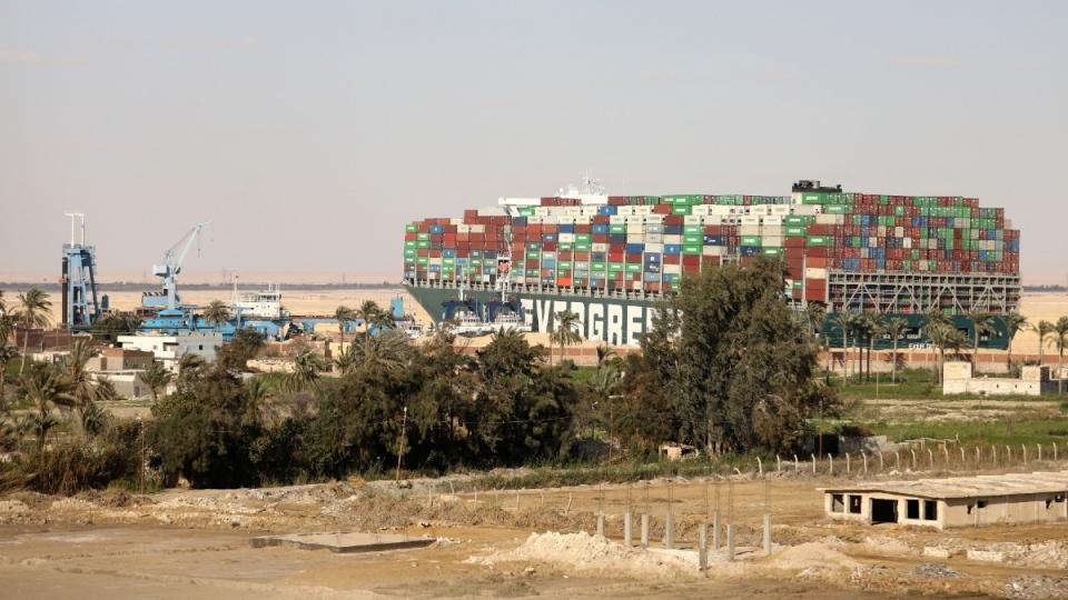Cargo ship Ever Given blocking the Suez Canal