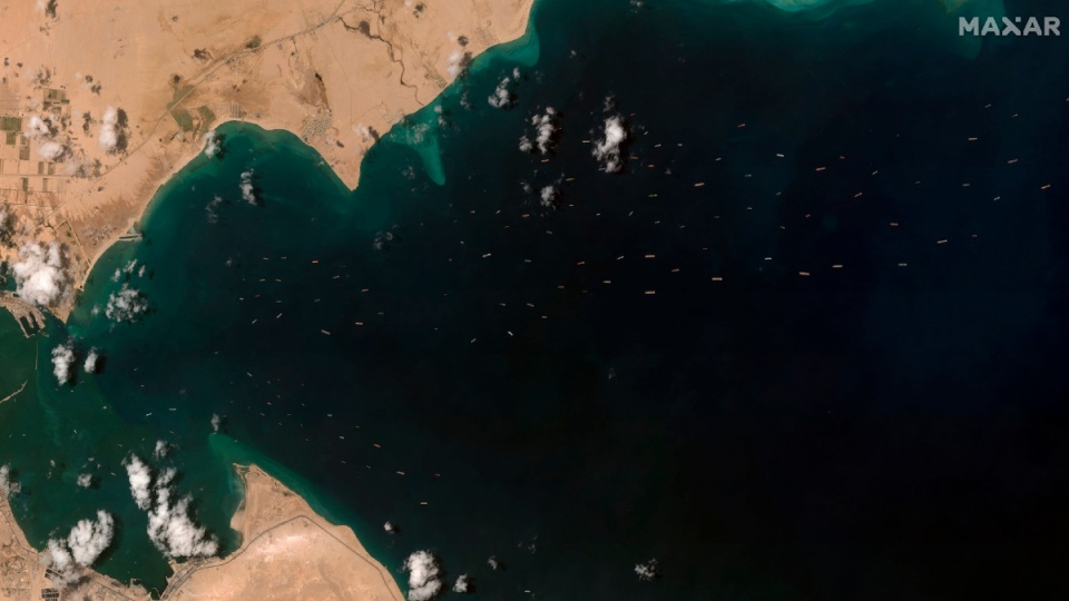 Cargo ships waiting to access the Suez Canal