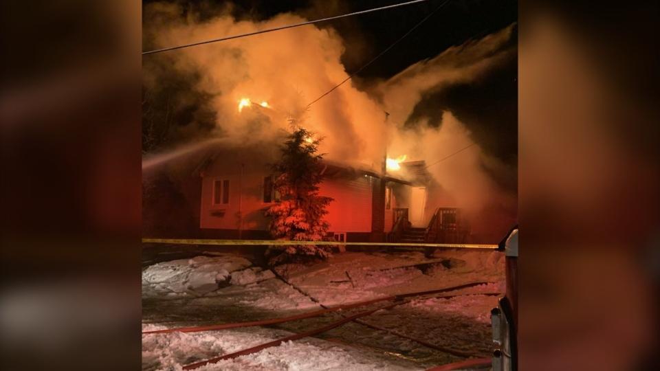 Fire on Poupore Road in Skead