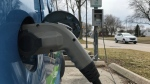 Electric vehicle in Windsor, Ont., on Monday, March 29, 2021. (Michelle Maluske / CTV Windsor)