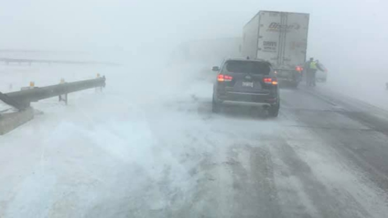 The westbound lanes of the Trans-Canada Highway were closed east of Brooks, Alta. following a crash that involved between 50 and 70 vehicles (photo: Paul Peesker)